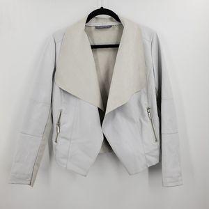 Bagatelle White Faux Leather Vegan Moto Jacket Sml